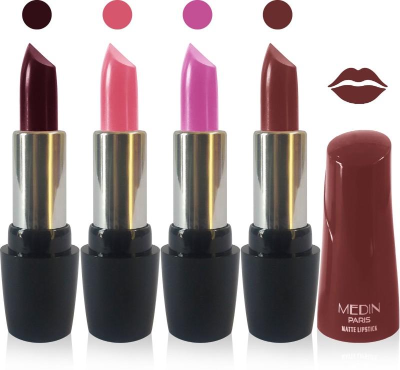 Medin paris ultra hd elegant colors matte lipstick cosmetics makeup 007 serires set of 4 color(hot chcolate l purple brown, 20 g)