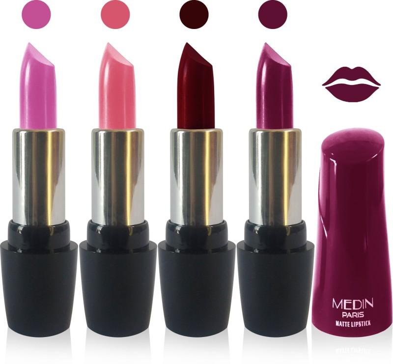 Medin paris ultra hd elegant colors matte lipstick cosmetics makeup 007 serires set of 4 color(l purple pink brown d maroon magenta, 20 g)