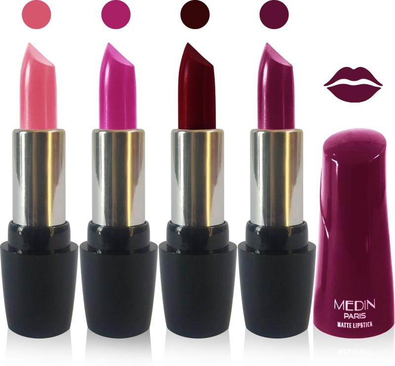 Medin paris ultra hd elegant colors matte lipstick cosmetics makeup 007 serires set of 4 color(magenta d maroon d purple pink brown, 20 g)
