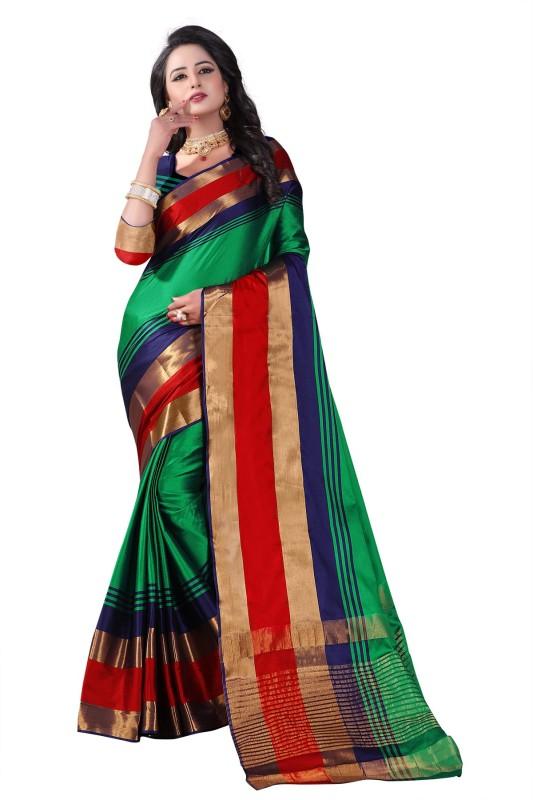 Villagius Woven Bollywood Handloom Art Silk Saree(Green)