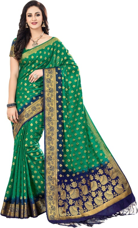 M.S.Retail Self Design Kanjivaram Silk Saree(Green, Blue)