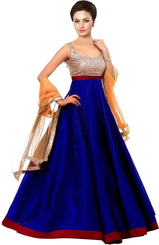 BUTTERSILK FASHION Brocade Solid Semi-stitched Salwar Suit Dupatta Material
