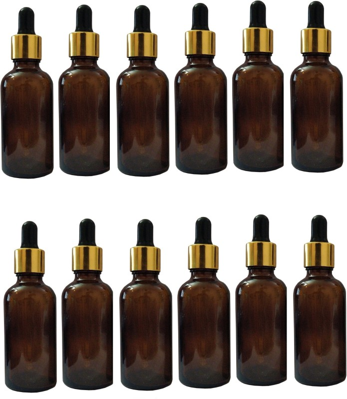 Herbins 50ml amber glass bottle Set of 12 with golden cap glass pipette Laboratory Dropper Bottle(Glass 50 ml Pack of12)