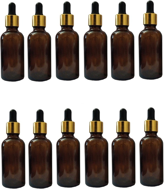 Herbins 30ml amber glass bottle Set of 12 with golden cap glass pipette Laboratory Dropper Bottle(Glass 30 ml Pack of12)
