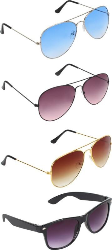 Zyaden Aviator, Aviator, Aviator, Wayfarer Sunglasses(Blue, Brown, Brown, Black) image