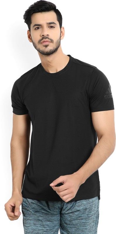 ADIDAS Solid Men Round or Crew Black T-Shirt