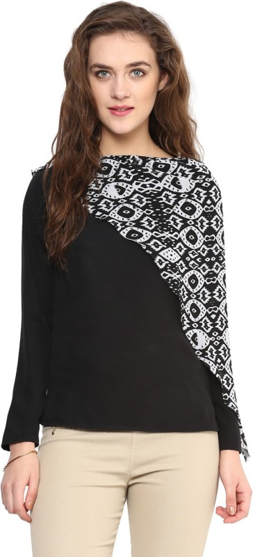 Uptownie Lite Casual Full Sleeve Printed Women Black Top