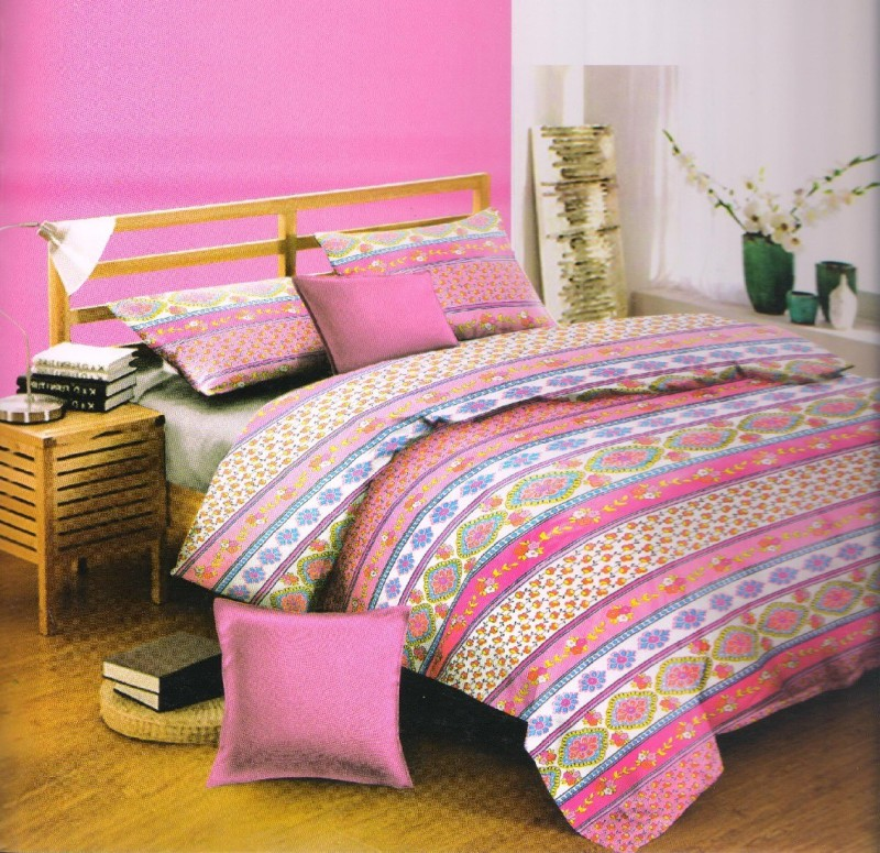 Lotus 15 TC Cotton Double Floral Bedsheet(Pack of 1, Pink)