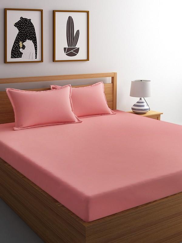 Dreamscape 400 TC Cotton Double Plain Bedsheet(Pack of 1, Pink)