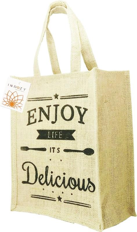 570ffa4a7 INDOZY Jute Lunch bag Enjoy Life Beige Grocery Bag(Beige)