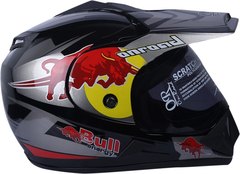 AutoVHPR O2 Red Bull Black with Silver Dashing Stylish Trending and Graphics ISI Certified Full Face Motocross Helmet Motorbike Helmet(Silver, Black)