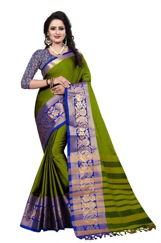 Bombey Velvat Fab Woven Daily Wear Cotton Silk Saree(Dark Green, Blue)