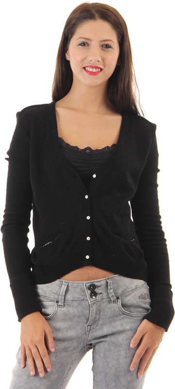 Pepe Jeans Solid V-neck Casual Women Black Sweater