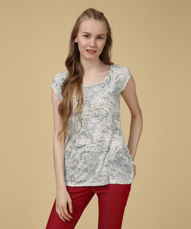 Spykar Printed Womens Round Neck White T-Shirt