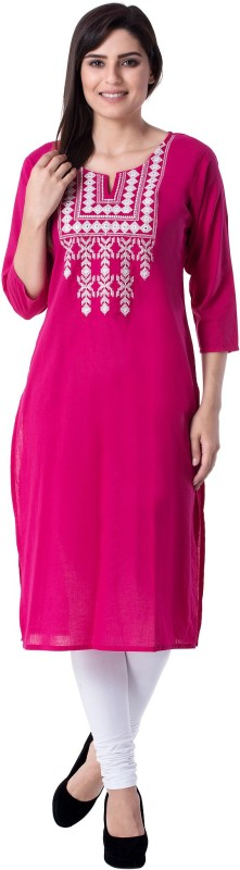 KSHARAA Women's Embroidered Straight Kurta(Pink)