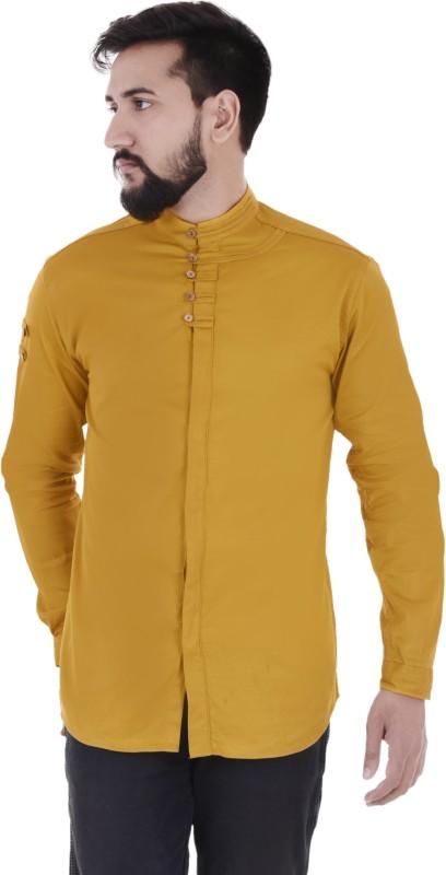 VERO LIE Men Solid Casual Yellow Shirt
