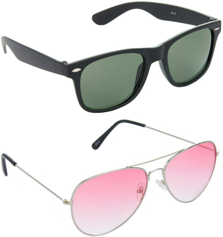 Royal Wood Wayfarer Sunglasses(Green, Pink) image