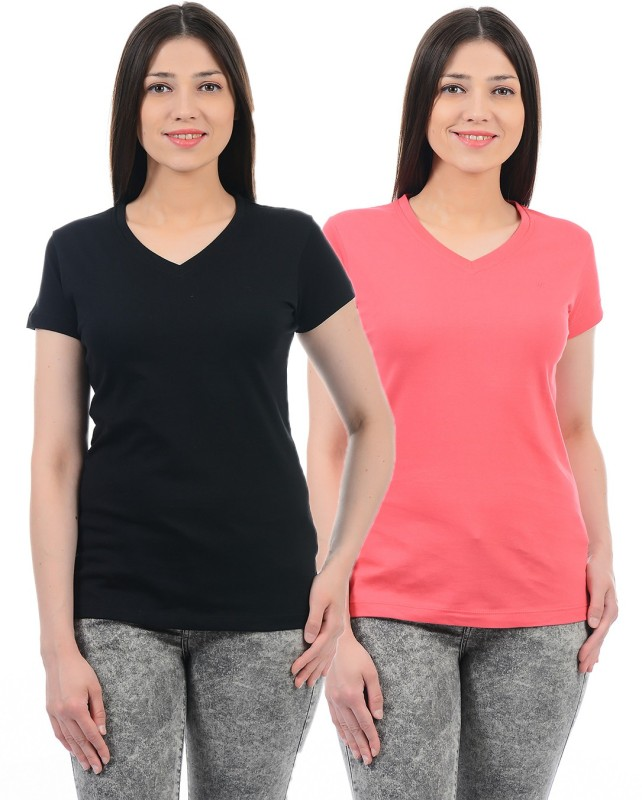 Monte Carlo Solid Women V-neck Pink, Black T-Shirt