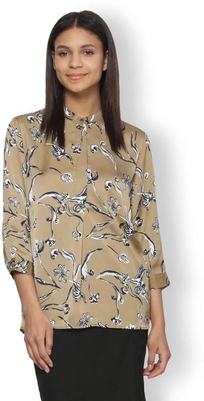 Van Heusen Casual 3/4th Sleeve Printed Womens Beige Top