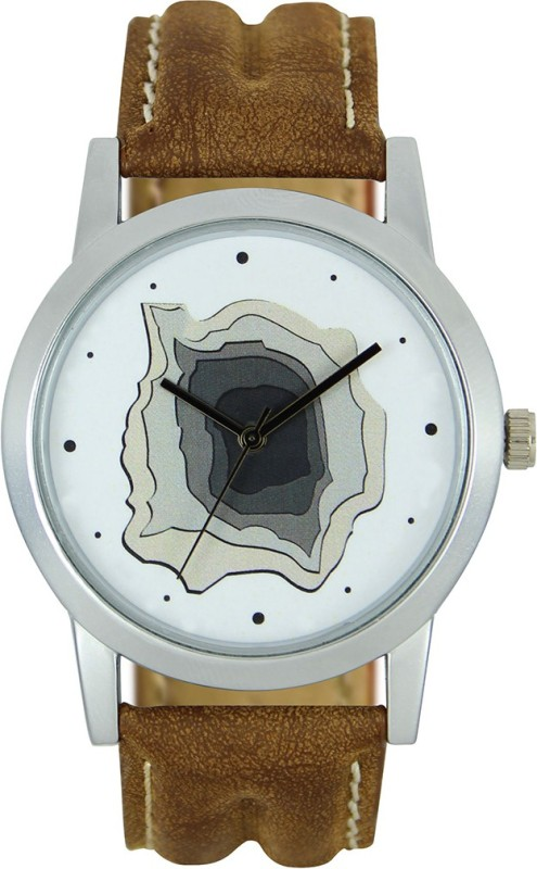3King Brown Leather Strap White Round Dial analogue Watch - For Men