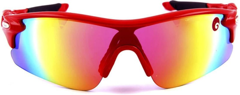 Omtex Flash Red Sports Sunglasses Sports Goggles(Red)