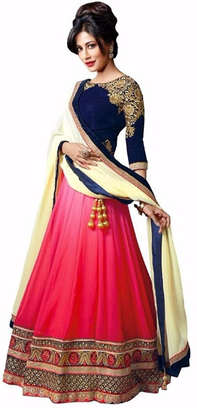 Florence Embroidered, Embellished Semi Stitched Lehenga, Choli and Dupatta Set(Multicolor)