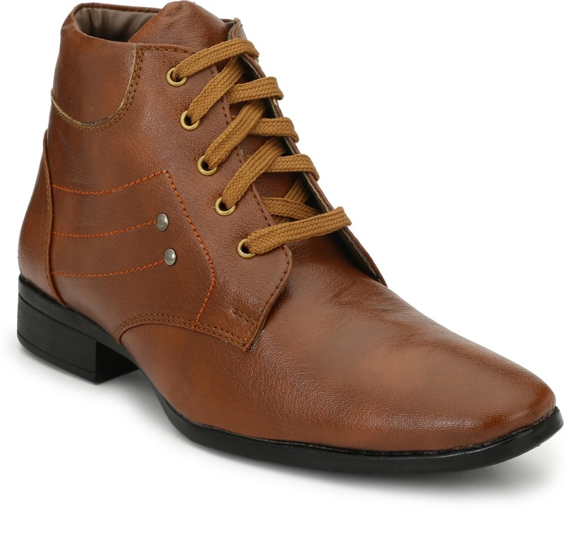 Eego Italy Stylish And Elegant Ankle Length Boots For Men(Tan)