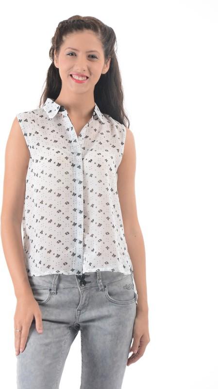 Pepe Jeans Women Printed Casual White Shirt