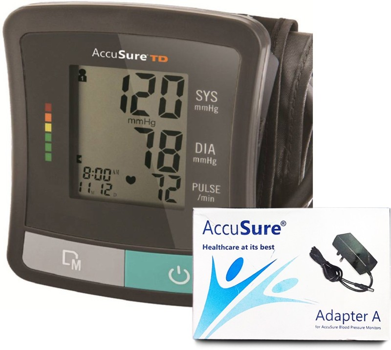 AccuSure TD-1209, Automatic Upper Arm Blood Pressure Monitor with Power Adapter Bp Monitor