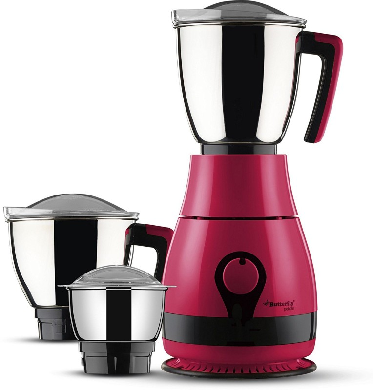 Butterfly Pebble Plus 3J Mixer Grinder, 750Watts 750 Juicer Mixer Grinder(Pink, 3 Jars)