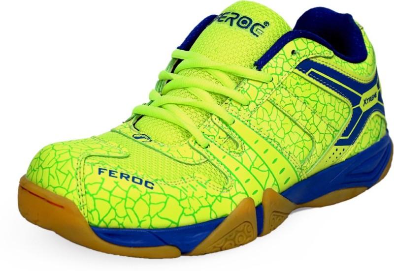 Feroc NOVAB GREEN Badminton Shoes For Men(Green, Blue)
