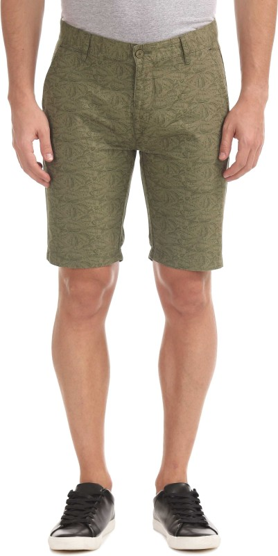 Izod Printed Men Green Regular Shorts