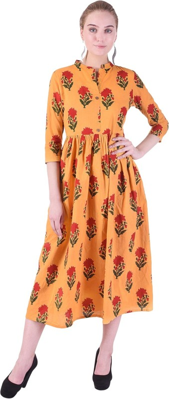 Indiwest Women's A-line Yellow Dress