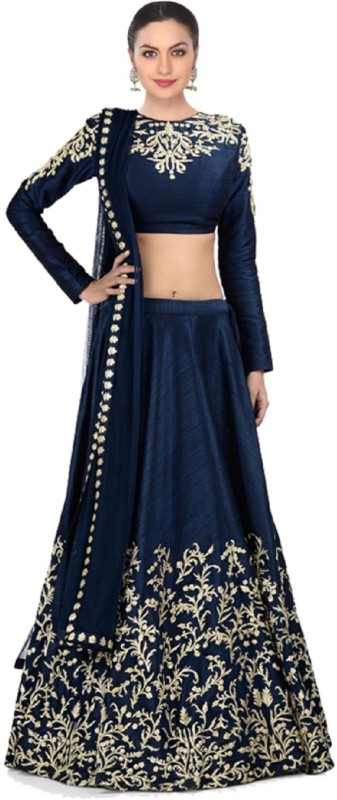 Fabron Embroidered Semi Stitched Lehenga, Choli and Dupatta Set(Blue, Gold)