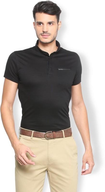 Van Heusen Solid Men Mandarin Collar Black T-Shirt