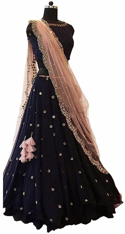Omstar Fashion Embroidered Semi Stitched Lehenga, Choli and Dupatta Set(Black, Beige)