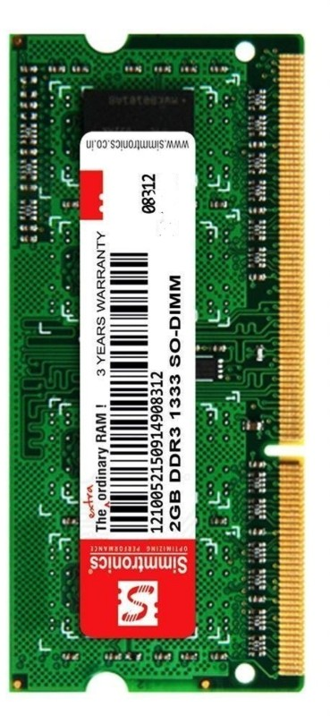 simtronics 2 gb ddr3 1333 DDR3 2 GB (Single Channel) Laptop (Simmtronics 2GB Ddr3 1333Mhz Laptop Ram)(Green)