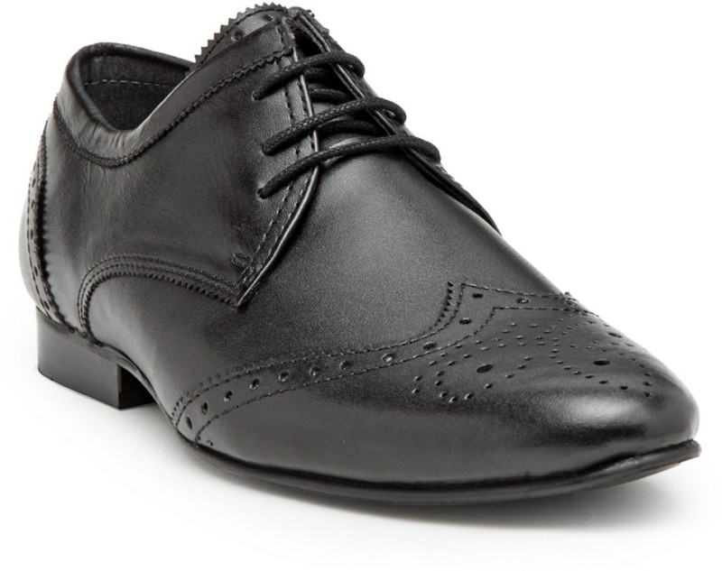 Hats Off Accessories Genuine Leather Black Derby Brogue Shoes Lace Up For Men(Black)