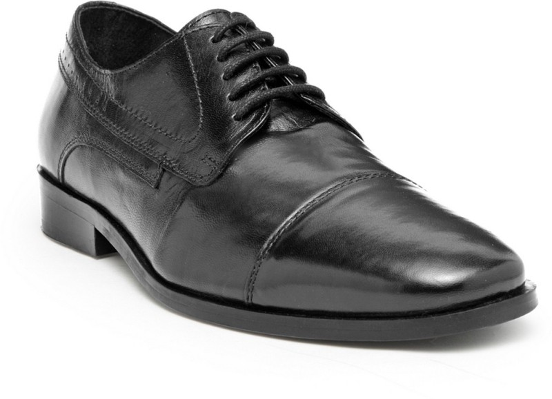 Hats Off Accessories Black Crunch Leather Derby Shoes with toe cap Derby For Men(Black)