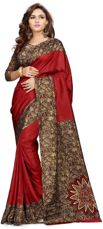 JENAM Printed Daily Wear Crepe Saree(Brown)
