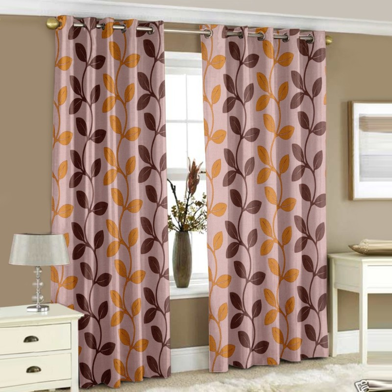 Story@Home 152 cm (5 ft) Polyester Window Curtain (Pack Of 2)(Printed, Gold)
