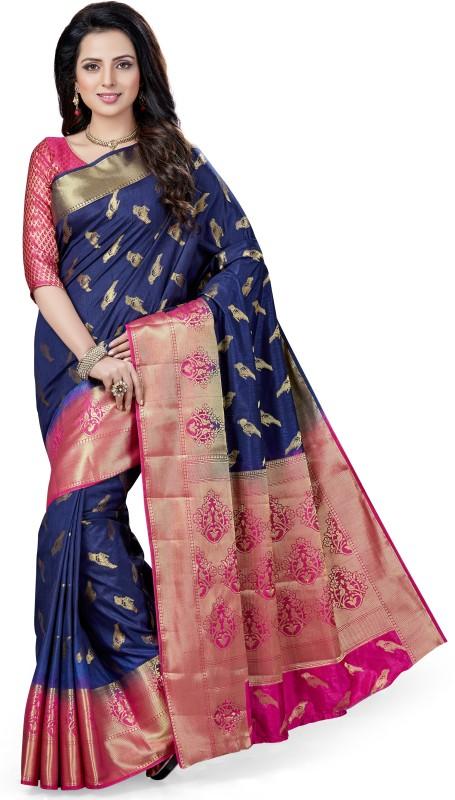 M.S.Retail Woven Kanjivaram Silk Saree(Blue, Pink)