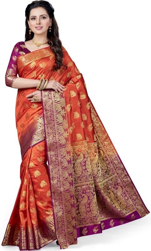 M.S.Retail Self Design Kanjivaram Silk Saree(Orange)