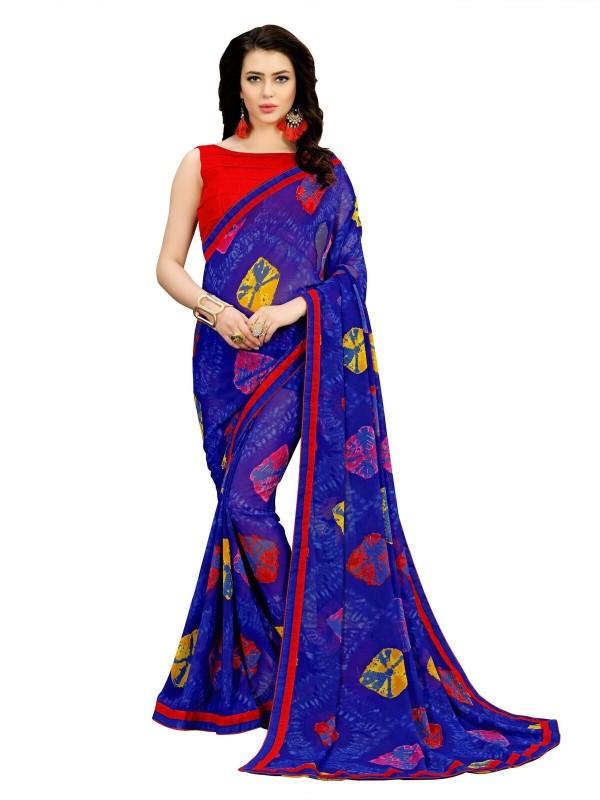 onlinefayda Printed Bandhani Georgette Saree(Blue)