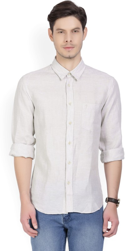 Indian Terrain Mens Solid Casual Beige Shirt