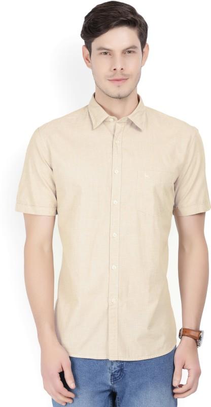 Parx Men Solid Casual Beige Shirt
