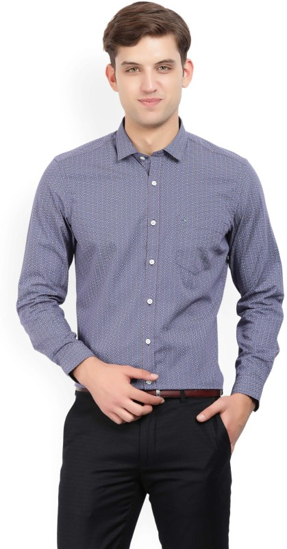 Indigo Nation Men's Printed Formal Blue Shirt