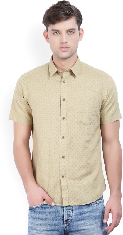 Indian Terrain Mens Printed Casual Beige Shirt