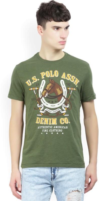 U.S. Polo Assn Printed Men Round Neck Green T-Shirt