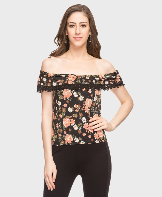 DJ &C by FBB Casual Half Sleeve Floral Print Women's Multicolor Top
